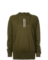 olivgrüner Oversize Pullover von Rick Owens