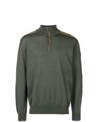 olivgrüner Pullover mit einem Reißverschluss am Kragen von Paul & Shark