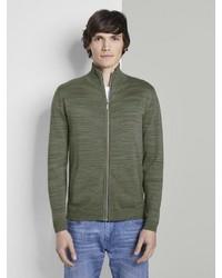 olivgrüner Pullover mit einem Reißverschluß von Tom Tailor