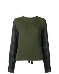 olivgrüner Pullover mit einem Rundhalsausschnitt mit Karomuster von N°21
