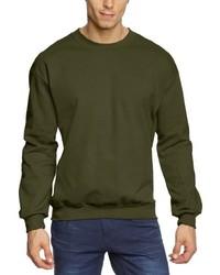 olivgrüner Pullover mit einem Rundhalsausschnitt von Anvil