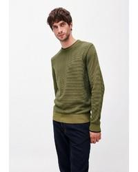 olivgrüner Pullover mit einem Rundhalsausschnitt von Armedangels