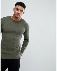 olivgrüner Pullover mit einem Rundhalsausschnitt von ASOS DESIGN