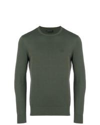 olivgrüner Pullover mit einem Rundhalsausschnitt von Emporio Armani