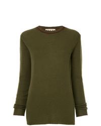 olivgrüner Pullover mit einem Rundhalsausschnitt von Marni