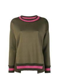 olivgrüner Pullover mit einem Rundhalsausschnitt von Moncler