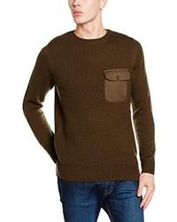 olivgrüner Pullover mit einem Rundhalsausschnitt von New Look