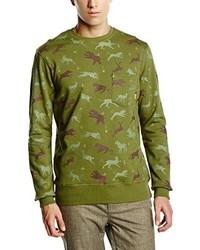 olivgrüner Pullover mit einem Rundhalsausschnitt von Poler Stuff