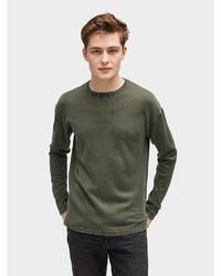 olivgrüner Pullover mit einem Rundhalsausschnitt von Tom Tailor Denim