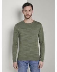 olivgrüner Pullover mit einem Rundhalsausschnitt von Tom Tailor