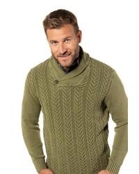 olivgrüner Pullover mit einem Schalkragen von JP1880