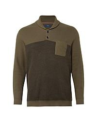 olivgrüner Pullover mit einem Schalkragen von Tom Tailor