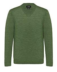 olivgrüner Pullover mit einem V-Ausschnitt von Carl Gross