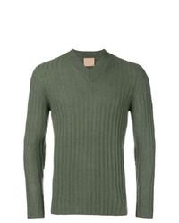 olivgrüner Pullover mit einem V-Ausschnitt von Federico Curradi