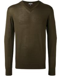 olivgrüner Pullover mit einem V-Ausschnitt von Lanvin
