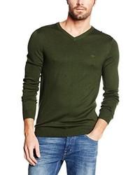 olivgrüner Pullover mit einem V-Ausschnitt von Lee