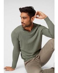 olivgrüner Pullover mit einem V-Ausschnitt von Tom Tailor