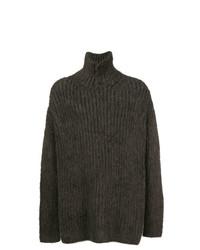 olivgrüner Pullover mit einem zugeknöpften Kragen von Yohji Yamamoto