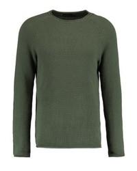 olivgrüner Pullover mit einem Rundhalsausschnitt von Jack & Jones
