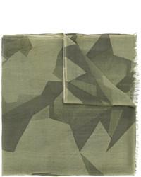 olivgrüner Wollschal mit geometrischen Mustern von Closed