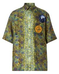 olivgrünes bedrucktes Kurzarmhemd von Burberry