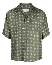 olivgrünes bedrucktes Kurzarmhemd von Marni