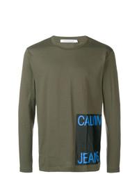 olivgrünes bedrucktes Langarmshirt von Calvin Klein Jeans