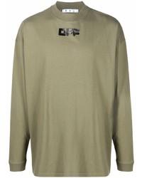 olivgrünes bedrucktes Langarmshirt von Off-White