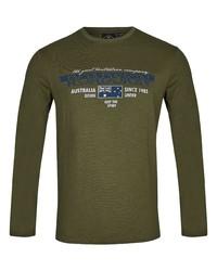 olivgrünes bedrucktes Langarmshirt von ROADSIGN australia