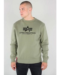 olivgrünes bedrucktes Sweatshirt von Alpha Industries