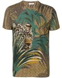 olivgrünes bedrucktes T-Shirt mit einem Rundhalsausschnitt von Etro