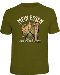 olivgrünes bedrucktes T-Shirt mit einem Rundhalsausschnitt von RAHMENLOS