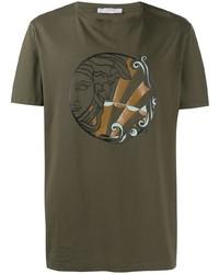 olivgrünes bedrucktes T-Shirt mit einem Rundhalsausschnitt von Versace Collection