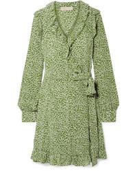 olivgrünes bedrucktes Wickelkleid aus Seide von MICHAEL Michael Kors