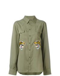 olivgrünes besticktes Langarmhemd
