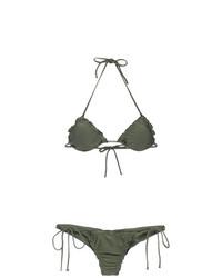 olivgrünes Bikinioberteil mit Rüschen von Lygia & Nanny