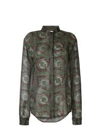 olivgrünes Businesshemd mit Paisley-Muster von Saint Laurent