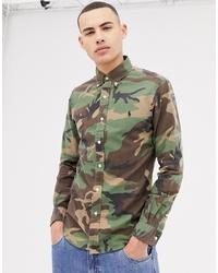 olivgrünes Camouflage Businesshemd