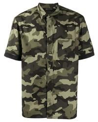 olivgrünes Camouflage Kurzarmhemd von Neil Barrett