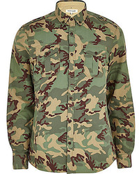 olivgrünes Camouflage Langarmhemd