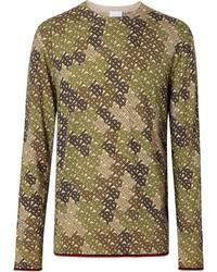 olivgrünes Camouflage Langarmshirt von Burberry