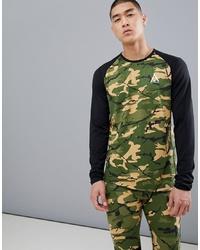 olivgrünes Camouflage Langarmshirt von Wear Colour