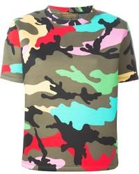 olivgrünes Camouflage T-Shirt mit einem Rundhalsausschnitt von Valentino