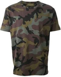 Olivgrünes Camouflage T-Shirt mit Rundhalsausschnitt