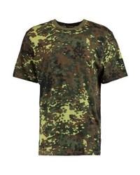 olivgrünes Camouflage T-Shirt mit einem Rundhalsausschnitt von 12 Midnight