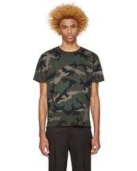 Olivgrünes Camouflage T-Shirt mit Rundhalsausschnitt von Valentino