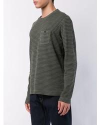 olivgrünes horizontal gestreiftes Langarmshirt von Michael Bastian