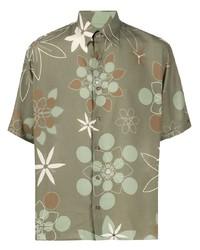 olivgrünes Kurzarmhemd mit Blumenmuster von Fendi