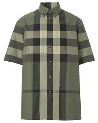 olivgrünes Kurzarmhemd mit Schottenmuster von Burberry