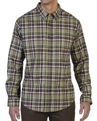 olivgrünes Langarmhemd mit Schottenmuster